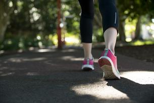 ウォーキングをしている女性の足元の写真素材 [FYI04569126]