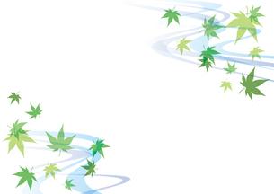青紅葉と流水 和風フレーム 緑のイラスト素材 [FYI04569623]