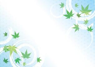 青紅葉と波紋と麻の葉模様 和風背景のイラスト素材 [FYI04569625]