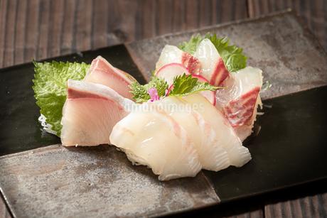 白身魚の刺身3点盛りの写真素材 [FYI04569658]