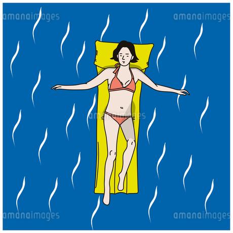プールでくつろぐ女性のイラスト素材 [FYI04570511]