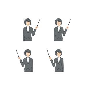 ビジネスシーン:指し示す・指し棒・女性(主線なし)のイラスト素材 [FYI04570795]