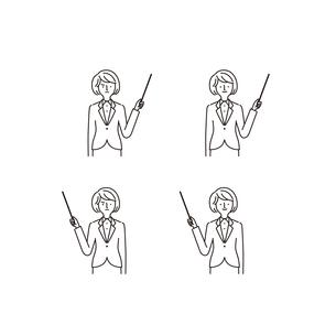ビジネスシーン:指し示す・指し棒・女性(線画)のイラスト素材 [FYI04570796]