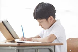 タブレットPCを見る小学生の男の子の写真素材 [FYI04570856]