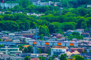 住宅街を走る多摩モノレールの写真素材 [FYI04571852]