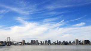 レインボーブリッジと東京タワーを見渡す東京ベイエリアのパノラマ風景の写真素材 [FYI04572647]