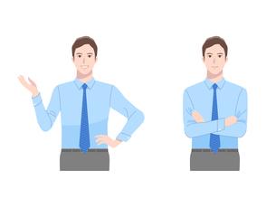 ネクタイをしたビジネスマン 2ポーズのイラスト素材 [FYI04573161]