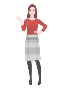 腰に手をあてる笑顔の女性のイラスト素材 [FYI04573167]