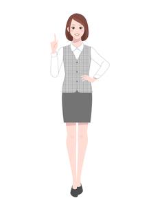 指を差す事務服を着た笑顔の女性のイラスト素材 [FYI04573168]