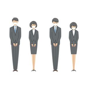 ビジネスシーン:マスクを付けてお辞儀をする男女1(主線なし)のイラスト素材 [FYI04573497]