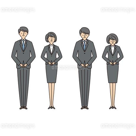 ビジネスシーン:お辞儀をする男女2(主線あり)のイラスト素材 [FYI04573510]