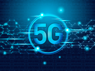 テクノロジー 抽象的 宇宙 サイバー 技術 背景 未来 青 5G 高速通信のイラスト素材 [FYI04573785]