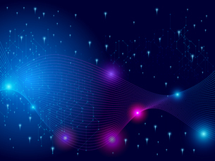 テクノロジー 抽象的 宇宙 サイバー 技術 背景 未来 青のイラスト素材 [FYI04573787]