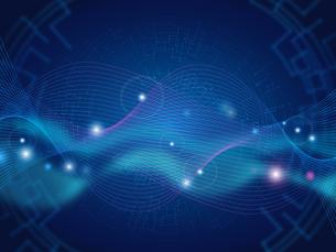 テクノロジー 抽象的 宇宙 サイバー 技術 背景 未来 青のイラスト素材 [FYI04573788]