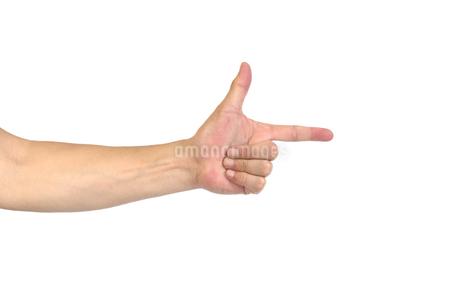 中年男性の手 指さしのポーズの写真素材 [FYI04573902]