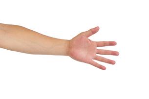中年男性の手のポーズ 手のひらの写真素材 [FYI04573910]