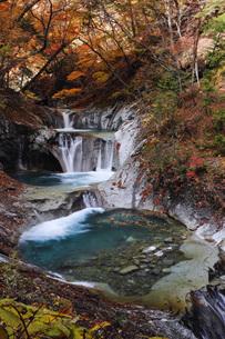 秋の西沢渓谷 七ツ釜五段の滝の写真素材 [FYI04574336]