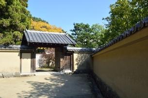 青空の好古園,土塀と苗の庭入口の写真素材 [FYI04575625]