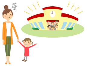 保育園に行きたがる待機児童とお母さんのイラスト素材 [FYI04575851]