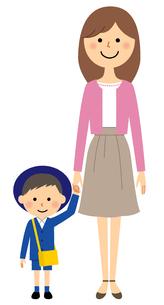手をつなぐ園児とお母さんのイラスト素材 [FYI04575867]