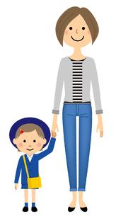 手をつなぐ園児とお母さんのイラスト素材 [FYI04575869]