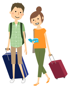 旅行中の若いカップルのイラスト素材 [FYI04575967]