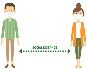 ソーシャルディスタンス 社会的距離のイラスト素材 [FYI04576080]