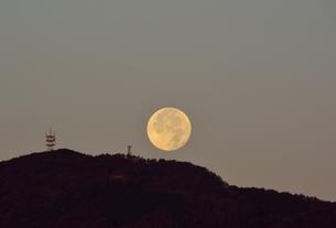 西宮,早朝の満月が六甲山並みに沈むの写真素材 [FYI04576724]