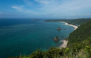 高台から見る水平線の見える海と砂浜と緑の丘の写真素材 [FYI04576757]