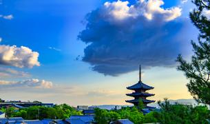 京都 八坂の塔 夕景の写真素材 [FYI04576880]