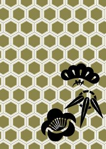 年賀状、結婚式などに使える亀甲柄に松竹梅をあしらった和柄背景素材のイラスト素材 [FYI04576943]