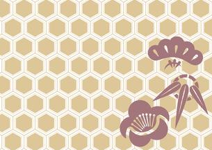 年賀状、結婚式などに使える亀甲柄に松竹梅をあしらった和柄背景素材のイラスト素材 [FYI04576945]