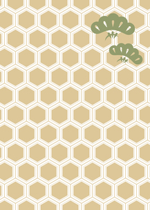 年賀状、結婚式などに使える亀甲柄に松の模様をあしらった和柄背景素材のイラスト素材 [FYI04576946]