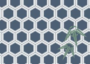 年賀状、結婚式などに使える亀甲柄に竹の模様をあしらった和柄背景素材のイラスト素材 [FYI04576947]