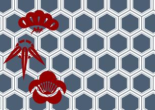年賀状、結婚式などに使える亀甲柄に松竹梅をあしらった和柄背景素材のイラスト素材 [FYI04576948]
