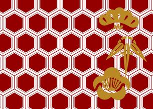 年賀状、結婚式などに使える亀甲柄に松竹梅をあしらった和柄背景素材のイラスト素材 [FYI04576949]