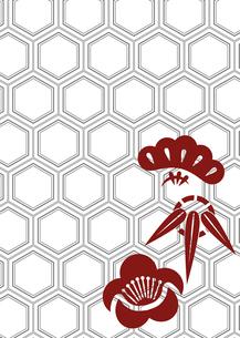 年賀状、結婚式などに使える亀甲柄に松竹梅をあしらった和柄背景素材のイラスト素材 [FYI04576955]