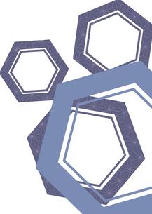 亀甲柄に麻の葉を施した年賀状、結婚式などに使える背景素材のイラスト素材 [FYI04576958]