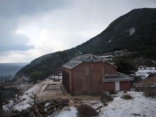 長崎県 小値賀町 雪の旧野首教会の写真素材 [FYI04577402]