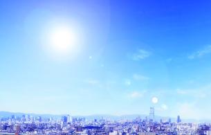 大阪市街と太陽の写真素材 [FYI04577926]