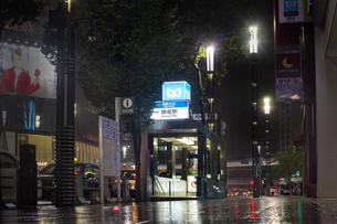 東京都 中央区 銀座 雨の銀座 夜景  の写真素材 [FYI04578899]