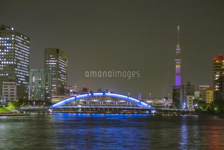 東京都 夜の永代橋と東京スカイツリーの写真素材 [FYI04579593]