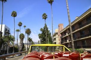 ロサンゼルスの街を走る2階建バスから見た街並みの写真素材 [FYI04579782]