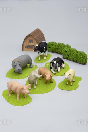 牧場にいるような草食動物のフィギュアの写真素材 [FYI04580108]