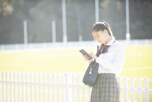 公園でスマホを見ている制服姿の女子学生の写真素材 [FYI04580113]