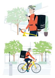 スマートフォンで注文を確認し、自転車でフードデリバリーをする男性配達員 イラスト セットのイラスト素材 [FYI04580329]