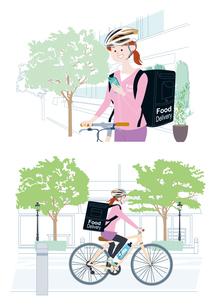 スマートフォンで注文を確認し、自転車でフードデリバリーをする女性配達員 イラスト セットのイラスト素材 [FYI04580330]