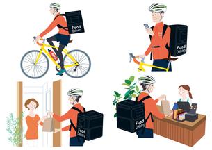 自転車でフードデリバリーをする男性配達員、スマートフォンで注文を確認、受け取る、届ける イラスト セットのイラスト素材 [FYI04580333]
