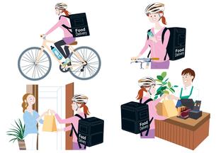 自転車でフードデリバリーをする女性配達員、スマートフォンで注文を確認、受け取る、届ける イラスト セットのイラスト素材 [FYI04580334]