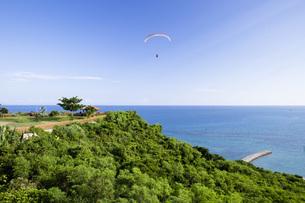 知念岬公園とパラグライダーの写真素材 [FYI04580689]
